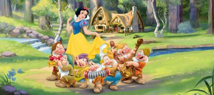 Snow White panoramic mural wallpaper 202x90cm